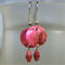 Paper bead and shell earrings - pink