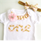 First Birthday Party Outfit Pink and Gold Includes Matching Headband