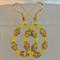 Paper and seed bead hoop earrings - yellow