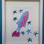 Rocket (Watercolour collage, framed)