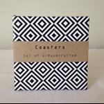 Coasters, tile coasters, drink coasters, ceramic tile coaster, geometric retro