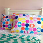 "Pillowcase ""stylish spot"" 100% cotton bright bold simple fun envelope finish"
