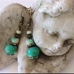 Green drop earring earrings wooden beads bronze