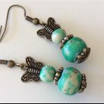 Green drop earring earrings wooden beads bronze butterfly