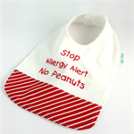 Allergy Alert Bib - No Peanut Cotton Fabric, Bamboo Toweling, Snap fastened
