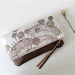 Fold over clutch, fabric and leather