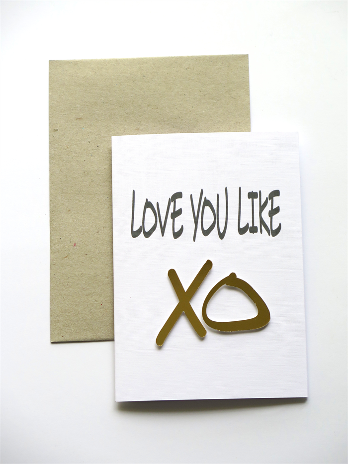 I Love You like XO Greeting Card by PetalandPaperie on Etsy