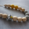Limited Edition Owl Organic Wood Bead Necklace/Light Grey & Yellow/ Nursing Mums