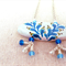 Decorative blue leaf inspired design, painted focal, necklace, beads, earrings
