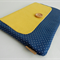 Large clutch / blue polka dots and yellow / gift / nappy clutch