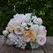 Silk wedding bouquet in shades of apricot, peach, white, cream - Harper