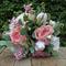 Silk wedding bouquet in shades of pink, blush pink, champagne, sage - Kaitlyn