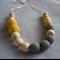 Organic Wood Bead Necklace / Grey & Yellow / Breastfeeding & Nursing Mums