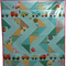 Beautiful Modern Cot Quilt matching Bib and 3 toy blocks
