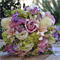 Silk wedding bouquet in shades of purple, lilac, white, lime green - Hannah