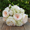 Silk bridesmaid bouquet in shades of apricot, peach, cream - Harper