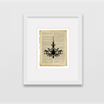 Vintage/French provincial art prints - set of 3 - bird, chandelier, feather