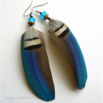 Vibrant Blue Macaw Feather Earrings