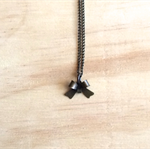 MINI BRASS 3D BOW PENDANT NECKLACE - FREE SHIPPING WORLDWIDE