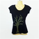 Black & Olive Green Tree Applique T-shirt - ladies sizes 8 to 18 - cotton