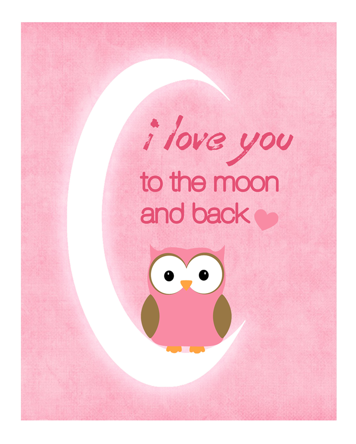 Love You To The Moon And Back Wall Art kids wall art print – owl 'i love you to the moon and back' - girl