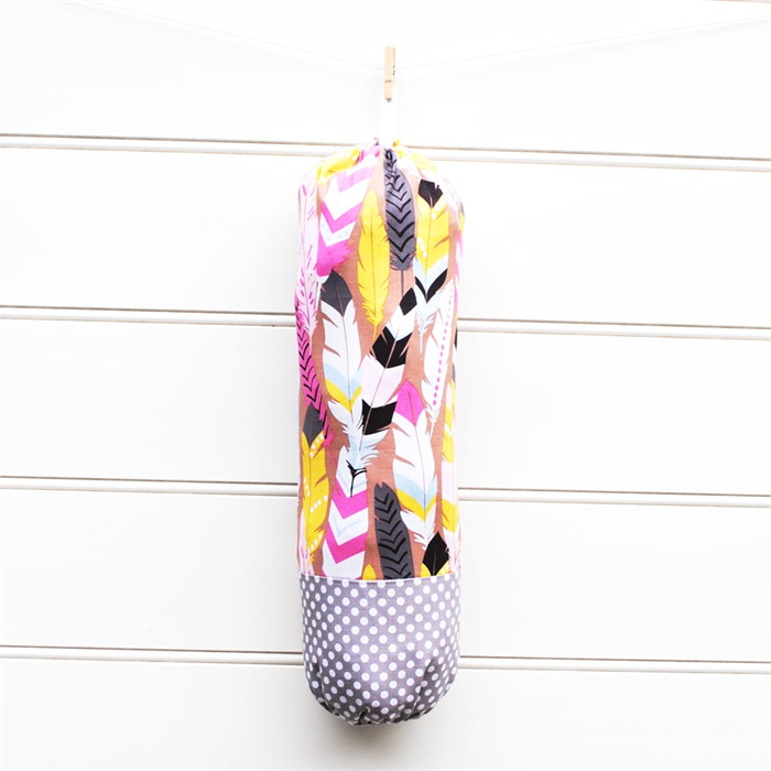 Plastic Bag Holder Fabric Pink And Blue Feathers On Tan