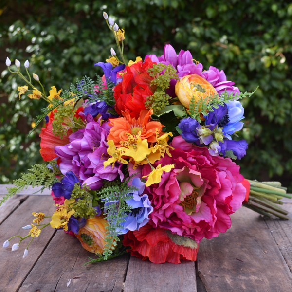 Silk Wedding Bouquet In Shades Of Yellow, Red, Purple
