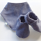 Blue Herringbone Baby Shoes & Bandanna Gift Set