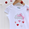 """Let love rain down"" Applique tee sizes 1-7 Red Pink Grey