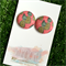 Pink Pineapple 23mm Fabric Button Earrings - Buy 3 get 4th FREE