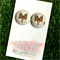 Geometric Fox 23mm Fabric Button Earrings - Buy 3 get 4th FREE
