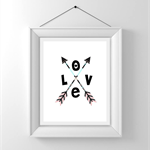 Nursery/Kids Room Wall Art Print - Tribal Love - black