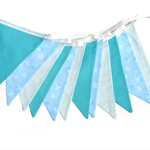 Snowflake Blue & White Flag Bunting. Banner Decoration. Winter Wonderland Party