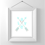 Nursery/Kids Room Wall Art Print - Tribal Love - aqua