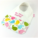 Easter Baby/Toddler Bib, Embroidered with My First Easter, Chick Cotton Fabric.