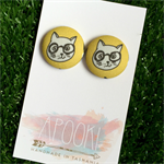 Cat 23mm Fabric Button Earrings - Buy 3 get 4th FREE
