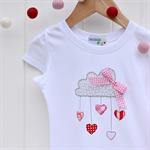 """Let love rain down"" Applique tee sizes 1-7 Red Pink Grey Rain cloud Valentine"
