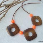 Swarovski Neon Orange pearls, Wood, Sterling Silver, necklace