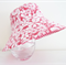 Girls summer hat in red floral fabric- SMALL SIZE