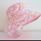 Girls summer hat in pretty pink and orange floral pattern