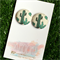 Cactus 23mm Fabric Button Earrings - Buy 3 get 4th FREE