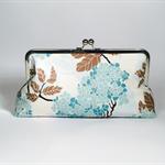 Hydrangea in blue large clutch purse