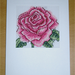 Summer Pink Rose Card - Completed Cross Stitch