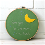 love you to the moon | hoop art | baby nursery bedroom gift | green yellow