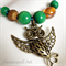 Leather Owl & Bead Necklace