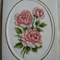Pink Roses Card - Completed Cross Stitch