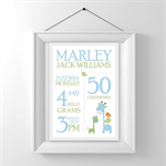 Custom Baby Birth Print Announcement Nursery Wall Art