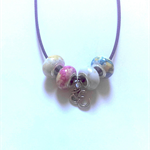 Om necklace with waxen cord and multicoloured bright acrylic beads