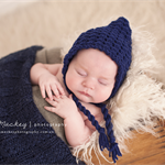 Gorgeous Textured Pixie Bonnet / Navy / Newborn Photography Prop / Baby Boy
