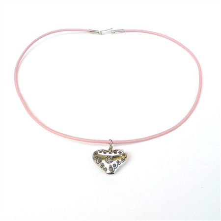 Silver Heart on Pink Leather